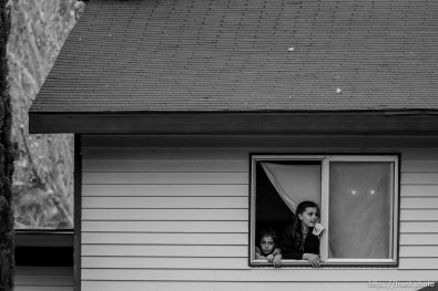 girls in window, Friday November 30, 2012.