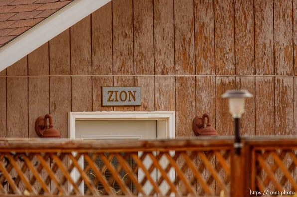 Zion sign over door, Friday November 30, 2012.