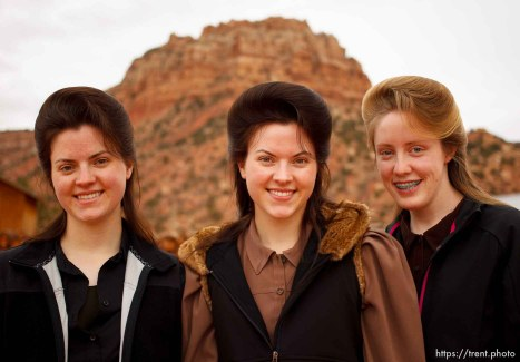 Trent Nelson | The Salt Lake Tribune Helen Holm, Heidi Holm and Allie Steed, photographed Saturday December 1, 2012 in Colorado City. The three young women recently left the FLDS church.