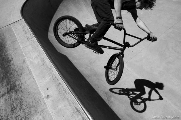 Trent Nelson | The Salt Lake Tribune Devan Latturner catches air on his BMX bike at the Layton City skatepark Thursday June 6, 2013.