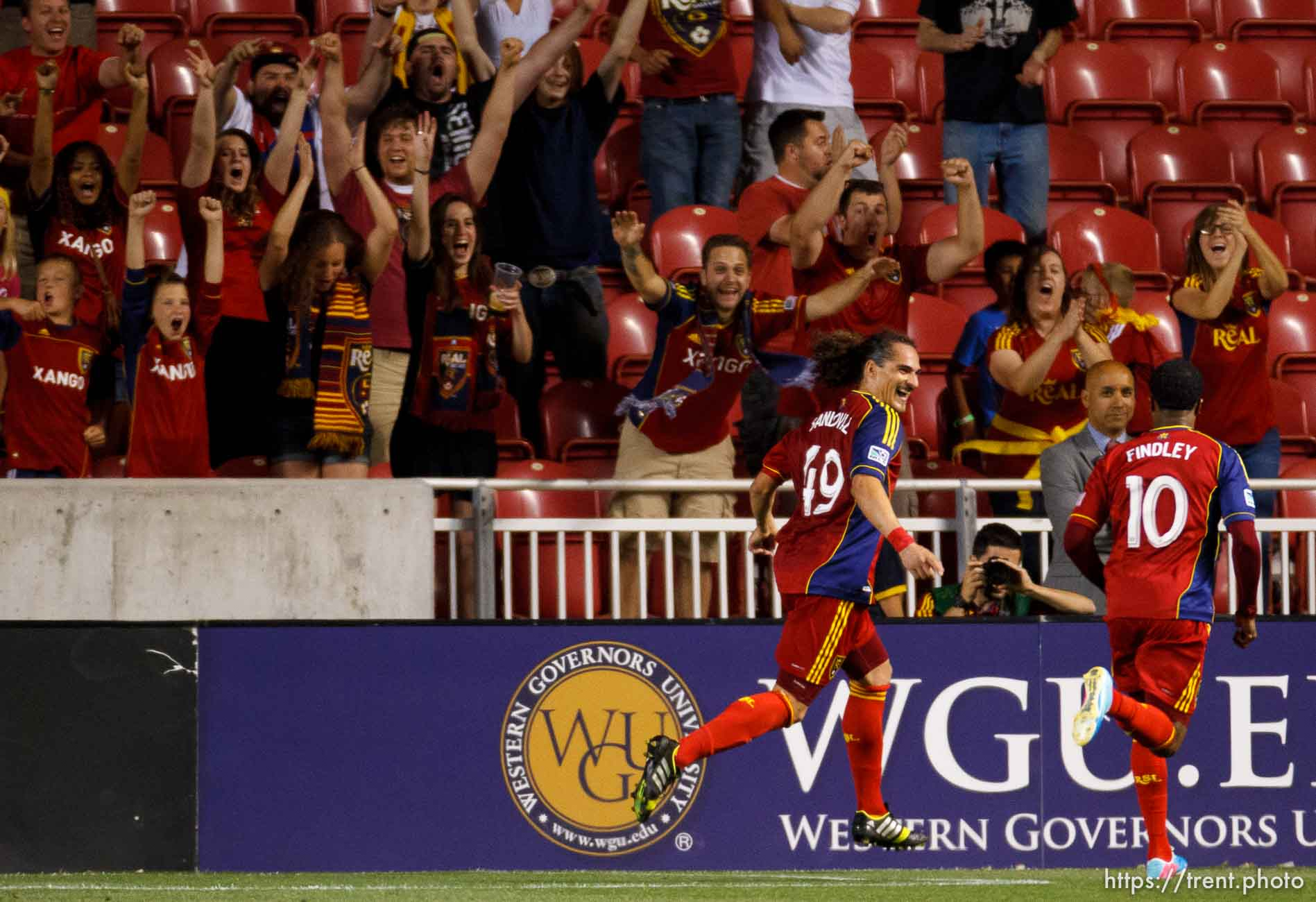 Trent Nelson | The Salt Lake Tribune Real Salt Lake's Devon Sandoval and Javier Morales celebrate Sandoval's goal in the first overtime period as Real Salt Lake hosts Charleston Battery in the US Open Cup Wednesday June 12, 2013 at Rio Tinto Stadium in Sandy, Utah.