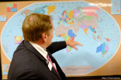 Trent Nelson | The Salt Lake Tribune A map at the Missionary Training Center of the Church of Jesus Christ of Latter-day Saints displays international church missions, Tuesday June 18, 2013 in Provo.
