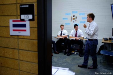 Trent Nelson   The Salt Lake Tribune Aaron Proctor, right, teaches a Thai language class with missionaries Brigham Shipley and Benjamin Black at the Missionary Training Center of the Church of Jesus Christ of Latter-day Saints in Provo Tuesday June 18, 2013.