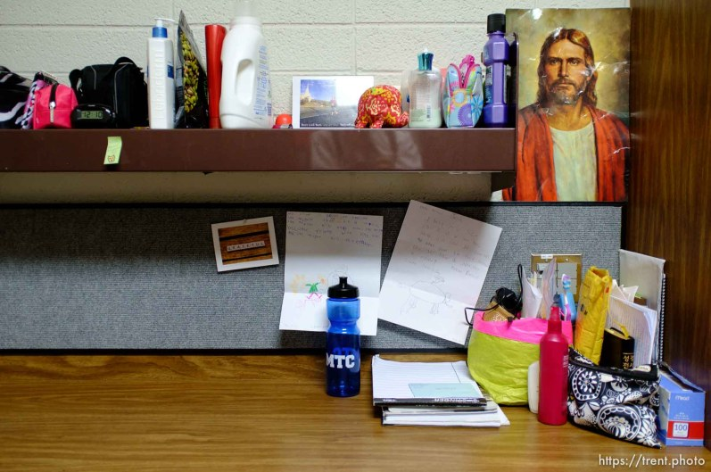 Trent Nelson | The Salt Lake Tribune A desk in a women's dorm room at the Missionary Training Center of the Church of Jesus Christ of Latter-day Saints in Provo Tuesday June 18, 2013.