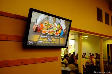 Trent Nelson | The Salt Lake Tribune A video screen offers health information in the cafeteria of the Missionary Training Center of the Church of Jesus Christ of Latter-day Saints in Provo Tuesday June 18, 2013.