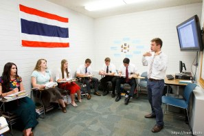 Trent Nelson | The Salt Lake Tribune Missionaries learning Thai at the Missionary Training Center of the Church of Jesus Christ of Latter-day Saints in Provo Tuesday June 18, 2013. Aaron Proctor, their teacher, at right.