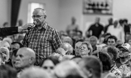 Trent Nelson | The Salt Lake Tribune A constituent asks a questions during a townhall meeting with Senator Mike Lee in Spanish Fork, Wednesday August 21, 2013.