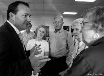 Trent Nelson | The Salt Lake Tribune Senator Mike Lee meets with constituents prior to a townhall meeting in Spanish Fork, Wednesday August 21, 2013.
