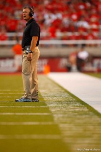Trent Nelson | The Salt Lake Tribune Utah coach Kyle Whittingham looks on as Utah State takes a 17-14 first half lead as the University of Utah hosts Utah State, college football Thursday, August 29, 2013 at Rice-Eccles Stadium in Salt Lake City.