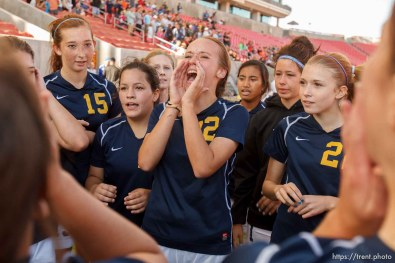 Trent Nelson | The Salt Lake Tribune Summit players celebrate their over Waterford in the 2A high school girls' soccer state championship game at Rio Tinto Stadium in Sandy, Saturday October 26, 2013.