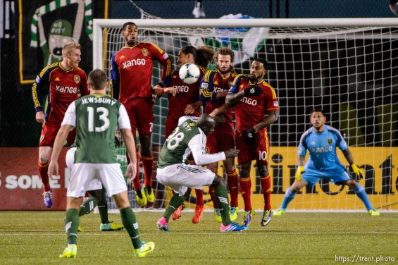 Trent Nelson | The Salt Lake Tribune A row of RSL defenders block a free kick as Real Salt Lake faces the Portland Timbers, MLS soccer Sunday November 24, 2013 in Portland.