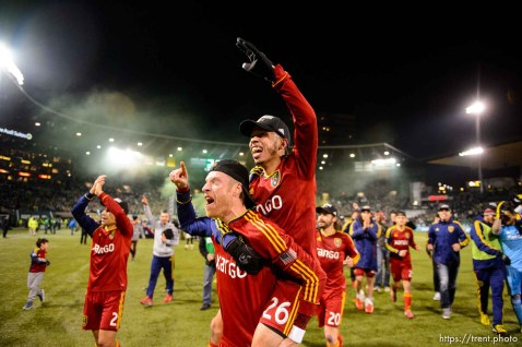 Trent Nelson | The Salt Lake Tribune RSL celebrates the win, as Real Salt Lake faces the Portland Timbers, MLS soccer Sunday November 24, 2013 in Portland. Real Salt Lake's Nat Borchers (6), Real Salt Lake's Sebastian Velasquez (26)