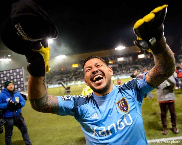 Trent Nelson | The Salt Lake Tribune Real Salt Lake's Nick Rimando (18) celebrates the win as Real Salt Lake faces the Portland Timbers, MLS soccer Sunday November 24, 2013 in Portland.