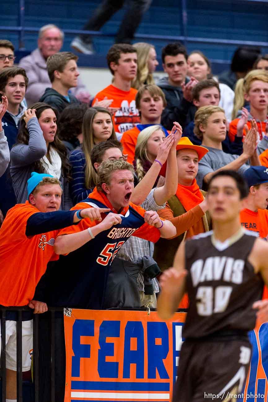 Trent Nelson | The Salt Lake Tribune Brighton fans cheer as Brighton hosts Davis High School, boys basketball in Sandy, Wednesday December 4, 2013.