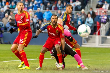 Trent Nelson | The Salt Lake Tribune RSL's Alvaro Saborio, Robbie Findley (10) and Chris Schuler (28) watch a near miss by Saborio as Real Salt Lake faces Sporting KC in the MLS Cup Final at Sporting Park in Kansas City, Saturday December 7, 2013.