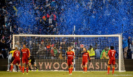Trent Nelson | The Salt Lake Tribune Real Salt Lake players react to a goal by Sporting KC's Aurelien Collin (78) in the MLS Cup Final at Sporting Park in Kansas City, Saturday December 7, 2013.