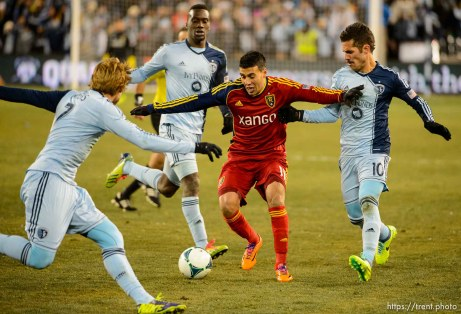 Trent Nelson | The Salt Lake Tribune Real Salt Lake's Javier Morales (11) is surrounded by Sporting KC players as Real Salt Lake faces Sporting KC in the MLS Cup Final at Sporting Park in Kansas City, Saturday December 7, 2013.