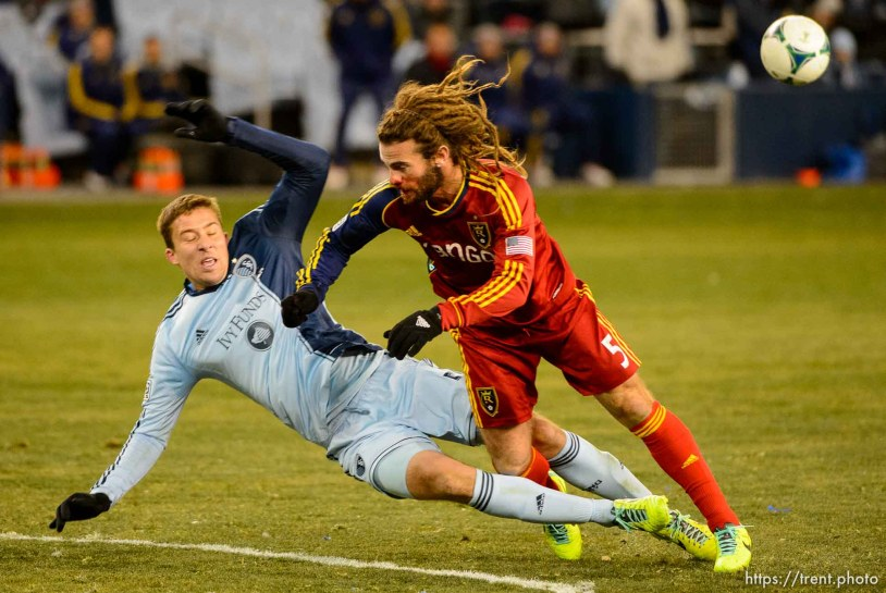 Trent Nelson | The Salt Lake Tribune Real Salt Lake's Kyle Beckerman (5) collides with Sporting KC's Matt Besler (5) as Real Salt Lake faces Sporting KC in the MLS Cup Final at Sporting Park in Kansas City, Saturday December 7, 2013.