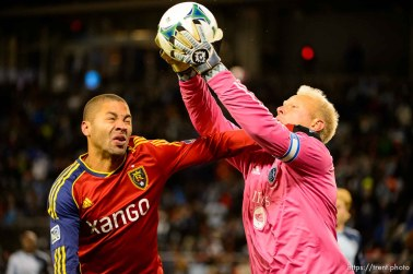 Trent Nelson | The Salt Lake Tribune Alvaro Saborio and Sporting KC's Jimmy Nielsen (1) as Real Salt Lake faces Sporting KC in the MLS Cup Final at Sporting Park in Kansas City, Saturday December 7, 2013.