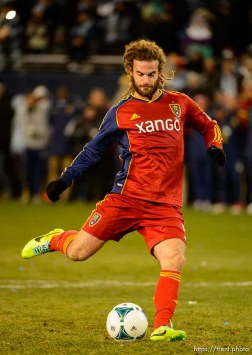 Trent Nelson | The Salt Lake Tribune Real Salt Lake's Kyle Beckerman (5) scores during the shootout as Real Salt Lake faces Sporting KC in the MLS Cup Final at Sporting Park in Kansas City, Saturday December 7, 2013.