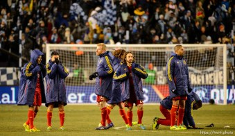 Trent Nelson | The Salt Lake Tribune RSL players react to the loss as Real Salt Lake faces Sporting KC in the MLS Cup Final at Sporting Park in Kansas City, Saturday December 7, 2013.