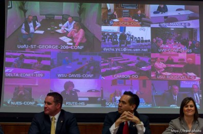 Trent Nelson | The Salt Lake Tribune State Central Committee members look on via videoconference as Attorney General candidates Bret Rawson, Sean Reyes and Michelle Mumford participate in their only debate before the Saturday special election by the State Central Committee. The committee sends the top three to the governor who chooses the new Attorney General to serve until after the Nov. 2014 election. Wednesday December 11, 2013 in Salt Lake City.