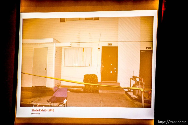 Trent Nelson | The Salt Lake Tribune A photo showing the front of the apartment where Hser Ner Noo was found, displayed during the murder trial of Esar Met in Salt Lake City, Tuesday January 7, 2014. Met is accused of killing 7-year-old Hser Ner Moo in 2008
