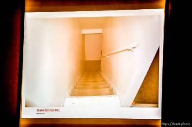 Trent Nelson   The Salt Lake Tribune A photo showing the stairs leading to the basement of the apartment where Hser Ner Noo was found, displayed during the murder trial of Esar Met in Salt Lake City, Tuesday January 7, 2014. Met is accused of killing 7-year-old Hser Ner Moo in 2008