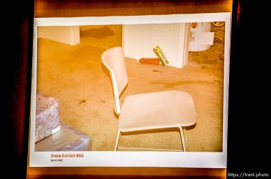 Trent Nelson   The Salt Lake Tribune A photo showing blood on the floor the basement of the apartment where Hser Ner Noo was found, displayed during the murder trial of Esar Met in Salt Lake City, Tuesday January 7, 2014. Met is accused of killing 7-year-old Hser Ner Moo in 2008