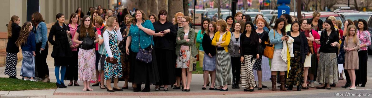 Trent Nelson   The Salt Lake Tribune Women walk to the Conference Center for the LDS General Women's Meeting in Salt Lake City, Saturday March 29, 2014. For the first time ever for Young Women and Relief Society and Primary will meet altogether, with every LDS female 8 and up invited.