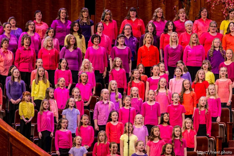 Trent Nelson   The Salt Lake Tribune A choir performs at the LDS General Women's Meeting at the Conference Center in Salt Lake City, Saturday March 29, 2014. For the first time ever for Young Women and Relief Society and Primary will meet altogether, with every LDS female 8 and up invited.