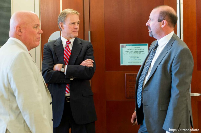 "Trent Nelson | The Salt Lake Tribune Bruce Wisan, the United Effort Plan trust administrator, Attorney Jeff Shields and Assistant Attorney General David Wolf wait for a hearing to begin in Elissa Wall's ""MJ"" lawsuit against Warren Jeffs and the UEP trust in Salt Lake City, Wednesday May 21, 2014. Judge Keith Kelly heard a motion to dismiss the lawsuit in the hearing."
