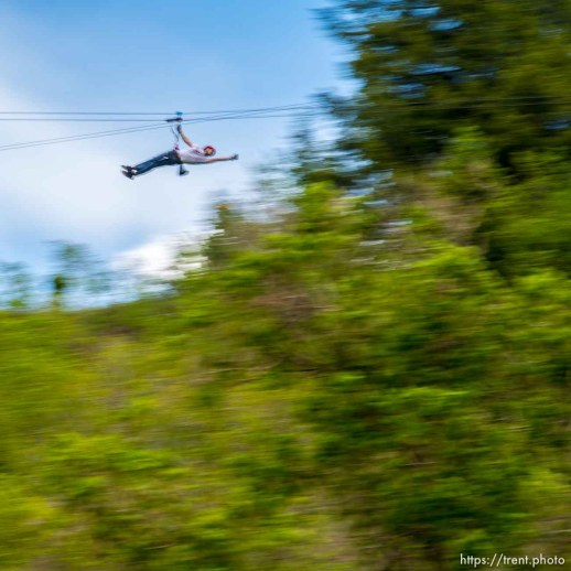 Trent Nelson   The Salt Lake Tribune A rider takes flight at Max Zipline, in Provo Canyon, Saturday May 31, 2014.