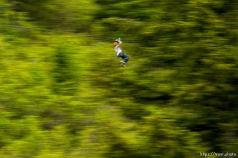 Trent Nelson | The Salt Lake Tribune A rider takes flight above the trees at Max Zipline, in Provo Canyon, Saturday May 31, 2014.