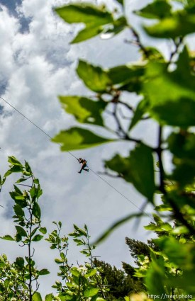 Trent Nelson | The Salt Lake Tribune A rider at Max Zipline, in Provo Canyon, Saturday May 31, 2014.