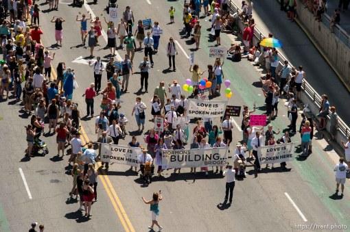Trent Nelson | The Salt Lake Tribune Pride parade, Sunday June 8, 2014. mormons building bridges
