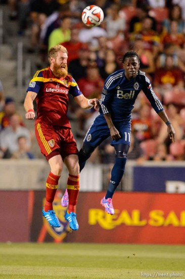 Trent Nelson | The Salt Lake Tribune Real Salt Lake's Nat Borchers (6) heads the ball, Vancouver's Darren Mattocks (11), as Real Salt Lake hosts Vancouver Whitecaps FC at Rio Tinto Stadium in Sandy, Saturday July 19, 2014.