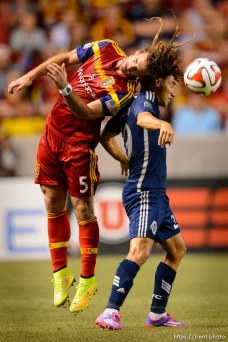 Trent Nelson | The Salt Lake Tribune Real Salt Lake's Kyle Beckerman (5) stretches for the ball, going around Vancouver's Nicolás Mezquida (29), as Real Salt Lake hosts Vancouver Whitecaps FC at Rio Tinto Stadium in Sandy, Saturday July 19, 2014.
