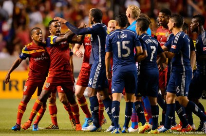 Trent Nelson | The Salt Lake Tribune Real Salt Lake and Vancouver Whitecaps players trade shoves at Rio Tinto Stadium in Sandy, Saturday July 19, 2014.