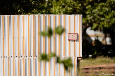 Trent Nelson | The Salt Lake Tribune no trespassing sign, fences and walls, in Hildale, Thursday September 25, 2014.