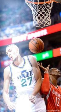 Trent Nelson | The Salt Lake Tribune Utah Jazz center Rudy Gobert (27), as the Utah Jazz host the Houston Rockets, NBA basketball at EnergySolutions Arena in Salt Lake City, Wednesday October 29, 2014.