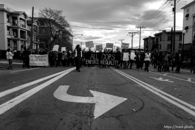 Trent Nelson | The Salt Lake Tribune Protesters march, blocking traffic as approximately 200 people turned out for a rally to protest police brutality in Salt Lake City, Saturday November 29, 2014.
