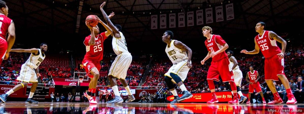 Trent Nelson | The Salt Lake Tribune Utah Utes guard Kenneth Ogbe (25) looks for a shot as the University of Utah Utes host the Alabama State Hornets, college basketball at the Huntsman Center in Salt Lake City, Saturday November 29, 2014.