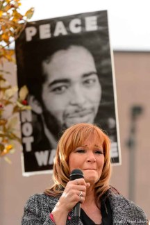 Trent Nelson | The Salt Lake Tribune Darrien Hunt's aunt, Cindy Moss, speaks about his shooting by police as approximately 350 people turned out for a rally to protest police brutality in Salt Lake City, Saturday November 29, 2014.