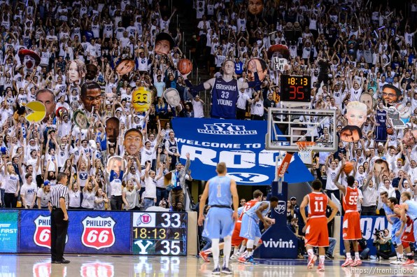 Trent Nelson | The Salt Lake Tribune BYU fans try to distract Utah Utes guard Delon Wright (55) on the free throw line, as BYU hosts Utah, college basketball at the Marriott Center in Provo, Wednesday December 10, 2014.