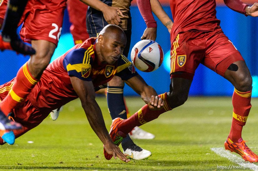 Real Salt Lake defender Jamison Olave (4) scores on a header as Real Salt Lake hosts Philadelphia Union, MLS soccer at Rio Tinto Stadium in Sandy, Saturday March 14, 2015.