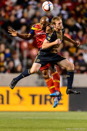 Real Salt Lake defender Jamison Olave (4) and Philadelphia's Fernando Aristeguieta leap for the ball as Real Salt Lake hosts Philadelphia Union, MLS soccer at Rio Tinto Stadium in Sandy, Saturday March 14, 2015.