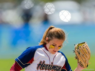 Trent Nelson | The Salt Lake Tribune Herriman pitcher Bryce Taylor (18). Herriman vs. Copper Hills High School softball, in West Valley City, Thursday May 21, 2015.
