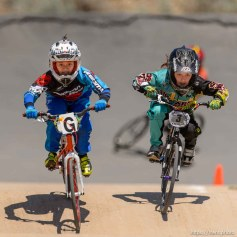 Trent Nelson | The Salt Lake Tribune 9-year-old girls Gianna Davila, left, and Stella Sunseri race at the U.S. BMX National Series at Rad Canyon BMX in South Jordan, Saturday June 13, 2015.