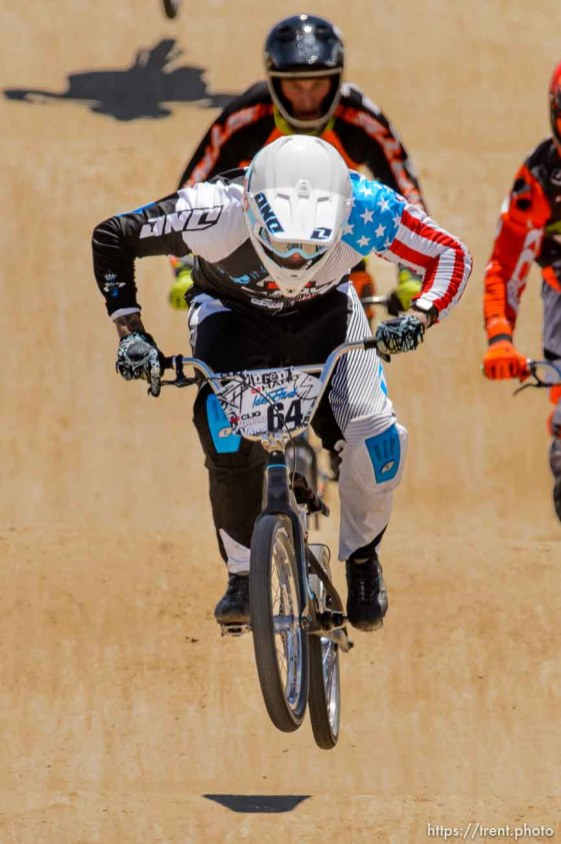 Trent Nelson | The Salt Lake Tribune Nic Long leads in the elite class at the U.S. BMX National Series at Rad Canyon BMX in South Jordan, Saturday June 13, 2015.